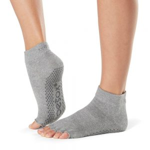 toesox half toe ankle grip carape za jogu heather grey