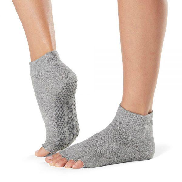 toesox half toe ankle grip carape za jogu heather grey