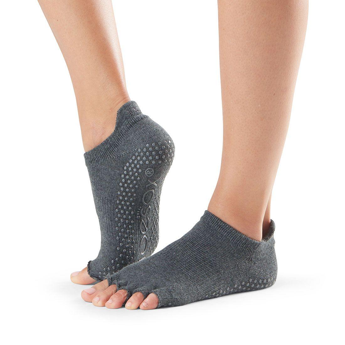 toesox half toe ankle grip charcoal grey carape za jogu, pilates i ples